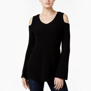 Style&Co. Ivory Cold-Shoulder Sweater